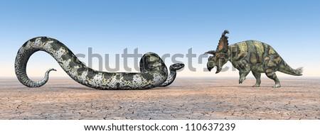 Titanoboa and Albertaceratops Computer generated 3D illustration - stock photo