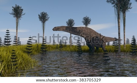 titanosaurrus in swapm waters - stock photo