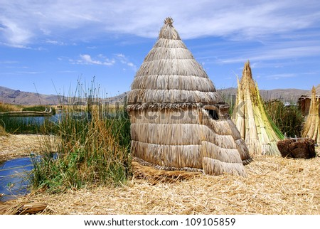 Titicaca lake Peru. The dense root that the plants develop and interweave form a natural layer called Khili about one to two meters thick that support the islands - stock photo