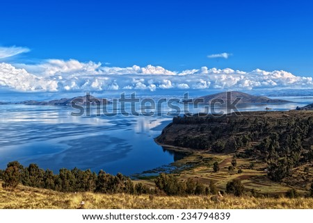Titicaca lake view from Bolivia - stock photo