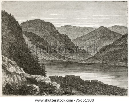 Titisee lake old view, Black Forest, Germany. Created by Stroobant, published on Le Tour Du Monde, Paris, 1867 - stock photo