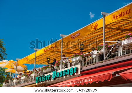 TITISEE-NEUSTADT, GERMANY - JUNE 21, 2014: The terrace of the restaurant Bergsee in Titisee Neustadt, Black Forest, Baden-Wurttemberg, Germany, Europe