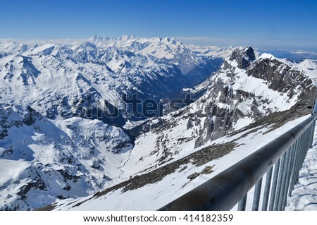 Titlis mountain is one of landmark mountain in Lucerne city with clear sky in spring season, Switzerland (Engelberg) - stock photo