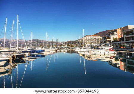 Tivat, Montenegro- December 25, 2015: Yachts and  Hotel Regency in Porto Montenegro in Tivat, Montenegro - stock photo