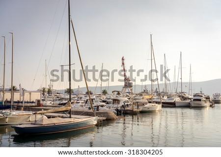 TIVAT, MONTENEGRO - SEPTEMBER 13, 2015. Yachts anchored in Port Montenegro. - stock photo