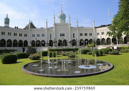 Tivoli Gardens in Copenhagen, Denmark - stock photo