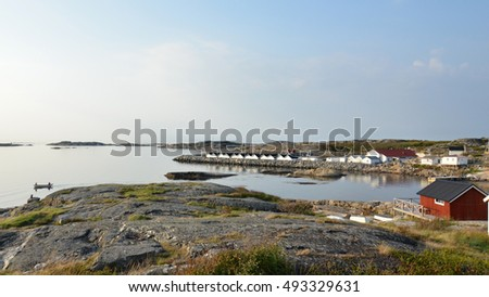 TJORN, BOHUSLAN/SWEDEN - SEPTEMBER 9, 2016: Typical houses and landscape in West Sweden, in Bohuslan, in Tjorn Island