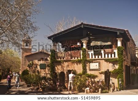 Tlaquepaque Village Shopping Area in Sedona, Arizona - a major restaurant and shop area in this resort destination - stock photo