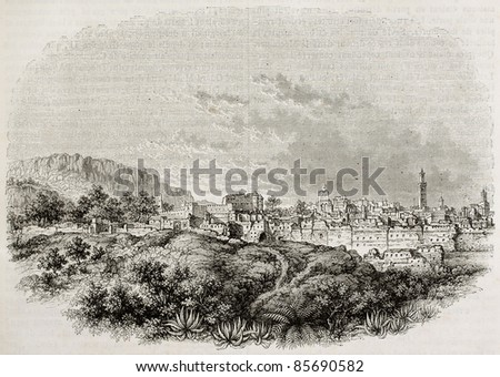 Tlemecen old view, Algeria. Created by Wiesner after Genet, published on Magasin Pittoresque, Paris, 1842 - stock photo