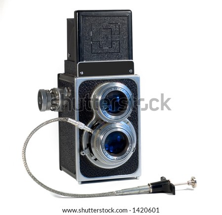 TLR Camera with remote cable release isolated on white - stock photo