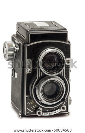 tlr photo camera on white background - stock photo