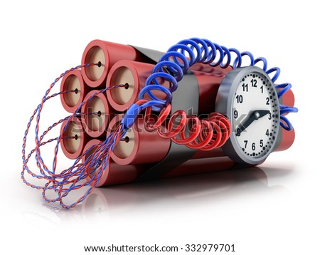 TNT and clock on white background (done in 3d) - stock photo