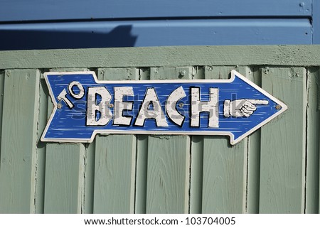 To Beach sign on beach hut at Ferring near Worthing. West Sussex. England. - stock photo