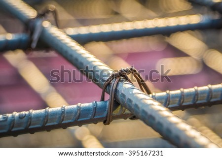 To bind the steel construction work. - stock photo