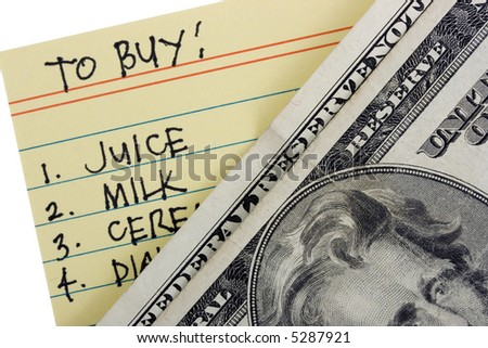 To buy list with US dollars - stock photo