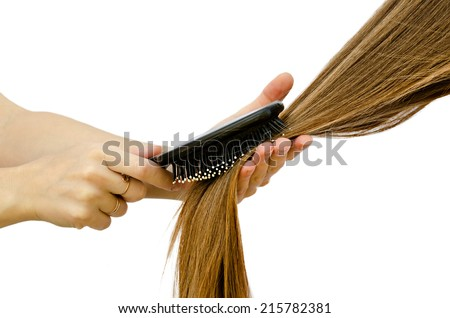 to comb long hair - stock photo