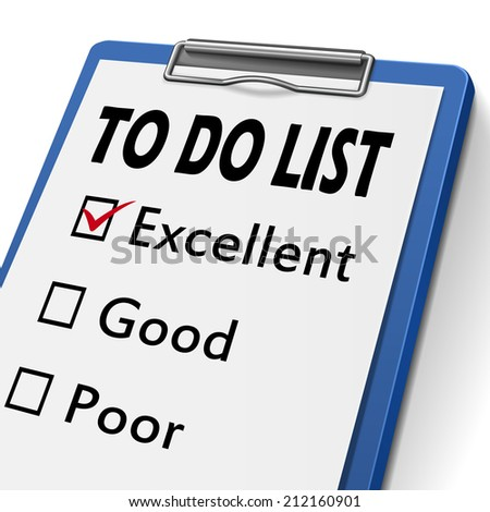 to do list clipboard with check boxes marked for excellent, good and poor - stock photo