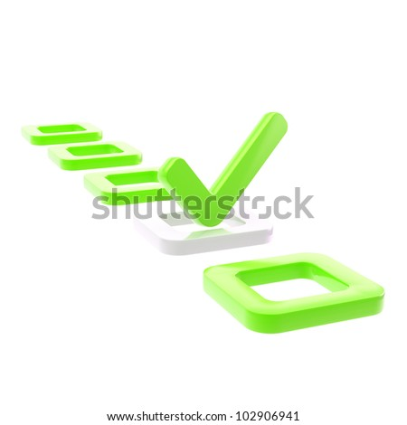 To do list, glossy tick in green check box isolated on white - stock photo