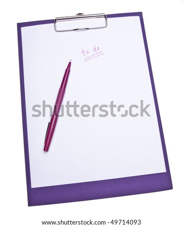 To Do List on a purple clip board Isolated on white with a clipping path.