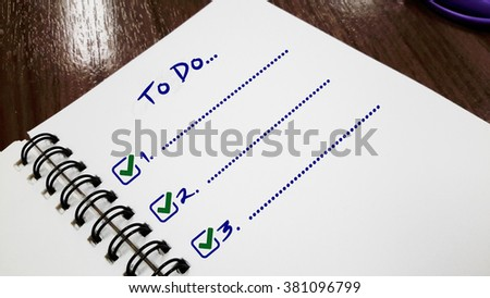 To Do List on green read paper and check list