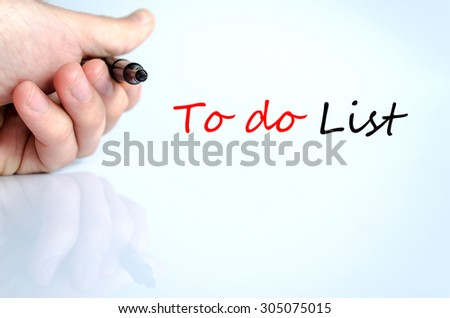 To do list text concept isolated over white background