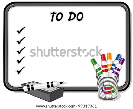 To Do List, Whiteboard, marker pens, eraser. Copy space to add your own text, notes or drawings for school, home, business and office projects. - stock photo