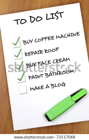 To do list with Make a blog not checked