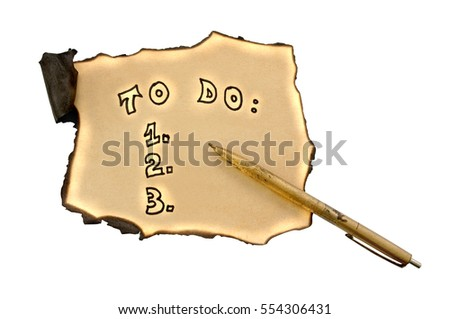 to do list with paper and pen isolated on white background