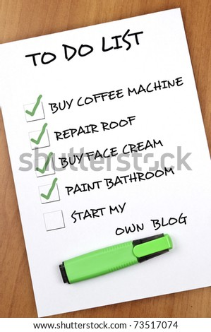 To do list with Start my own blog not checked - stock photo