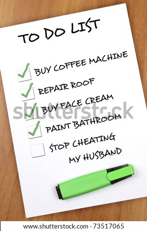 To do list with Stop cheating my husband not checked - stock photo