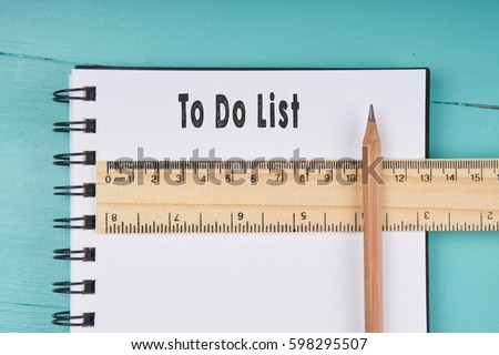 To Do List Word On Notebook, Wooden Ruler And Pencil On Blue Wooden  Background.  Notebook Paper Background For Word