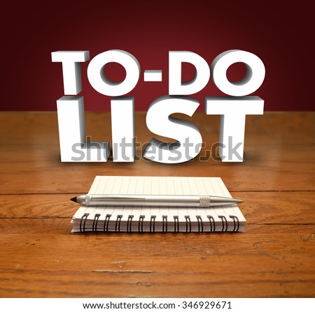 To Do List words in 3d letters and a notepad with blank page on a table with pen for making an itemized agenda of important tasks or jobs - stock photo