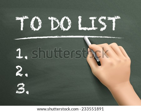 to do list words written by hand on blackboard - stock photo