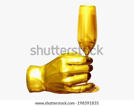 to drink a toast to somebody, hand gesture with champagne glass in gold - stock photo