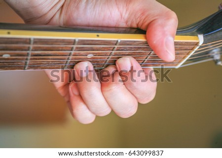 Hold Guitar Chords Guitar Neck Stock Photo (Edit Now) 643099837 ...