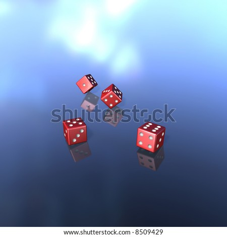 To jumble and to play dice with four red cubes