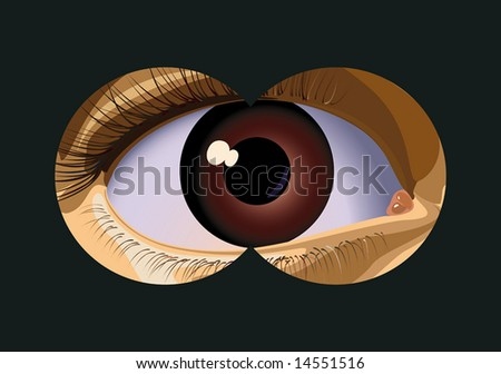 To look in the field-glass approximately the person. A vector illustration. - stock photo