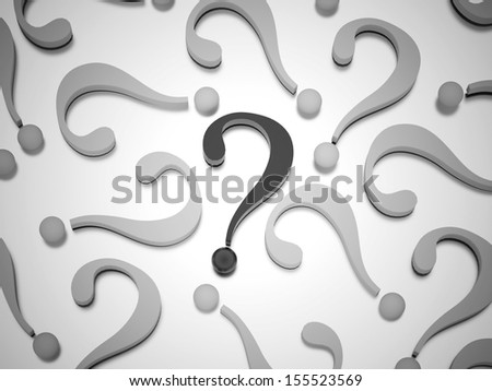 To many question marks rendered one is black - stock photo