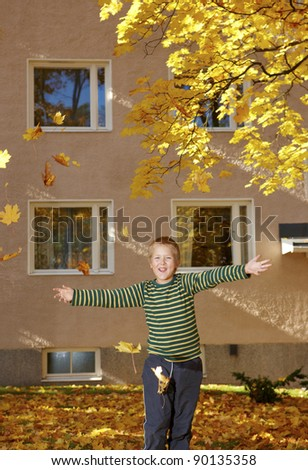 to people in the outdoors in the beautiful autumn weather - stock photo