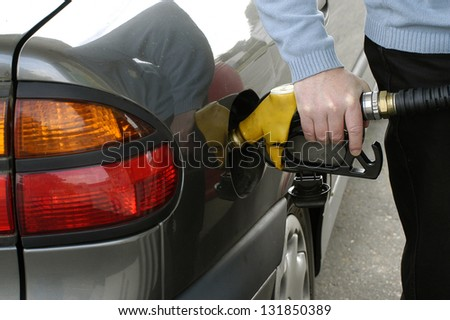 to refuel before falling out of fuel - stock photo