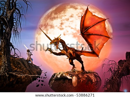 To save her Queen, a young woman lifts a sword to battle the winged Dragon. Night, full moon, burnt dead trees, falling rocks. Original Illustration - stock photo