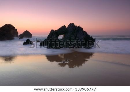 to the paradise , Beach fan, Cascais, Portugal - stock photo
