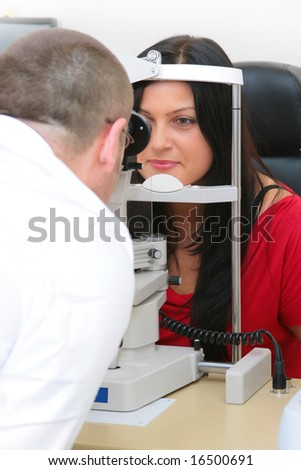 to the sight-testing at the optician - stock photo