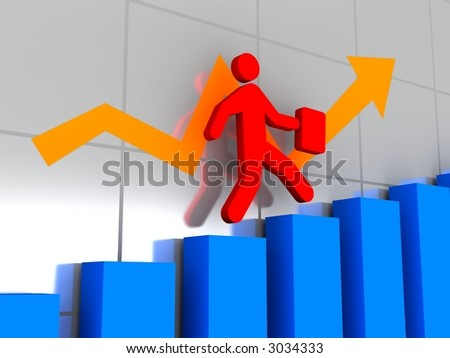 To tops of success - stock photo