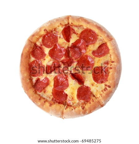 To view pizza isolated on white - stock photo