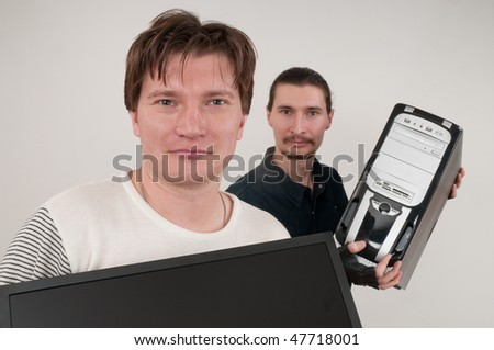 To work every day with computers it is a man's trade. - stock photo