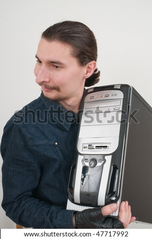 To work every day with the computer it is its trade. - stock photo