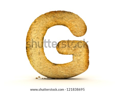 Toast Alphabet 3D White Isolated - stock photo