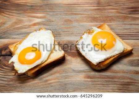 toast and egg on wooden table