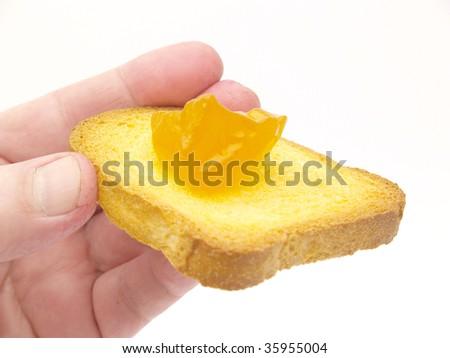 toast and peach jam - stock photo
